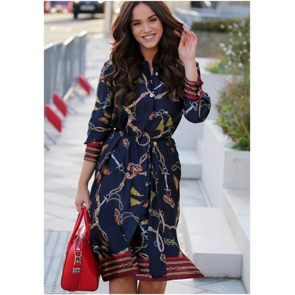 d1794863ad NWT Zara Chain Printed Shirt Dress